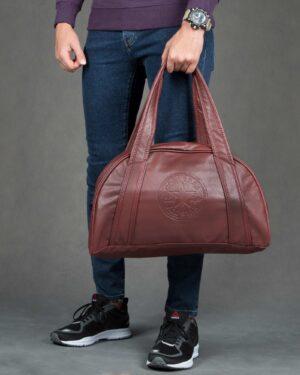 کیف ورزشی چرم مصنوعی - قهوه ای - مردانه