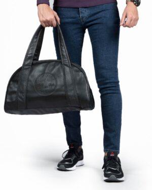 کیف ورزشی چرم مصنوعی - مشکی - مردانه