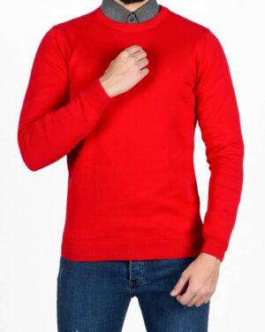 بلوز یقه گرد ساده بافت مردانه-قرمز-رو به رو