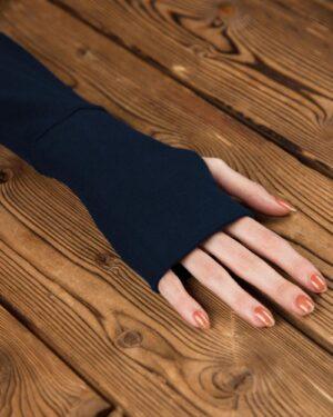 تونیک زنانه یقه اسکی آستین دستکشی-سرمه ای تیره-آستین