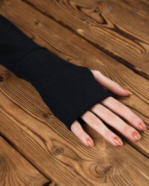 تونیک زنانه یقه اسکی آستین دستکشی-مشکی-آستین