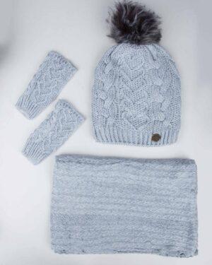 ست کلاه و شال بافت و دستکش - طوسی کمرنگ - رو به رو