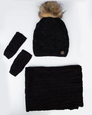 ست کلاه و شال بافت و دستکش - مشکی - رو به رو