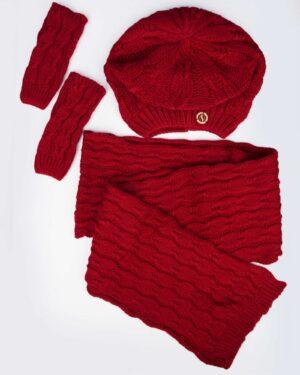 ست کلاه و شال گردن و دستکش بافت - قرمز - رو به رو