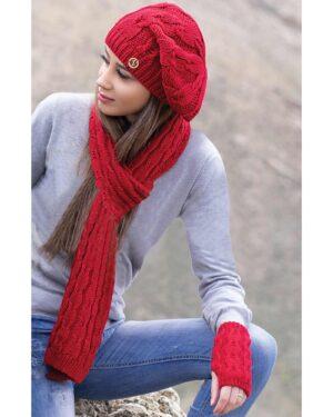 ست کلاه و شال گردن و دستکش بافت - قرمز - محیطی زنانه