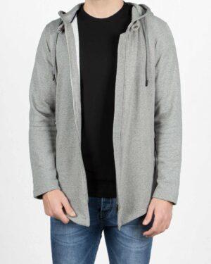 سویشرت مردانه ملانژ کلاه دار-طوسی-جلو باز