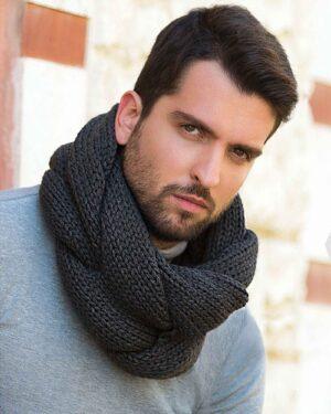 شال گردن رینگی بافت - دودی - مردانه