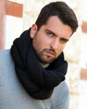 شال گردن رینگی بافت - مشکی - مردانه