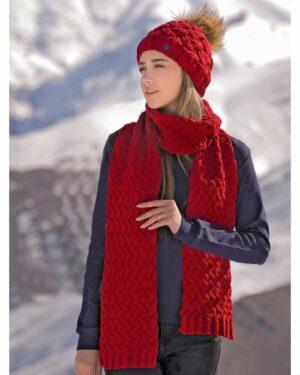 شال گردن و کلاه بافت طرح حصیری - قرمز - زنانه