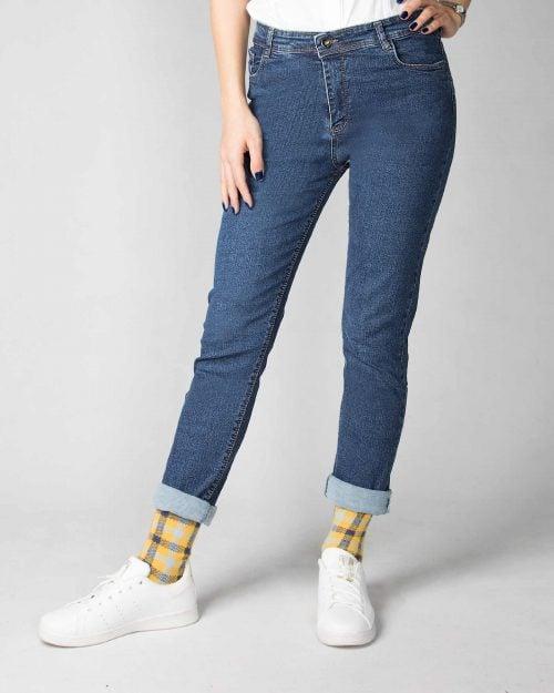 شلوار جین راسته آبی تیره-آبی تیره-جلو