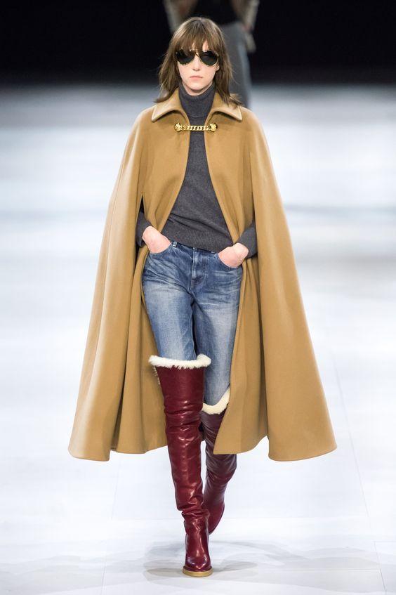 شنل خردلی چکمه زرشکی شلوار جین کت واک کت و شلوار قزمز رنگ ترند پاییز 2019