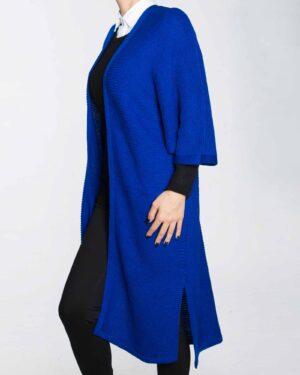 پانچو بافت ساده زنانه-آبی-بغل