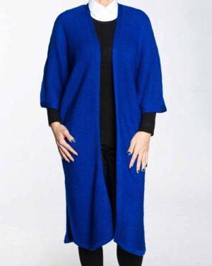 پانچو بافت ساده زنانه-آبی-رو به رو