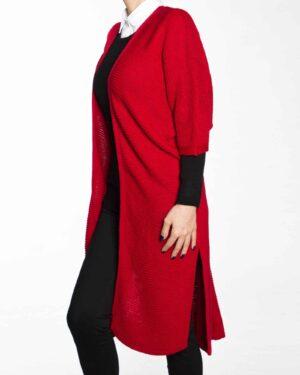 پانچو بافت ساده زنانه-قرمز-بغل