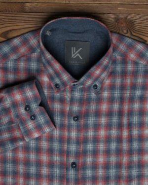 پیراهن پشمی آستین بلند چهارخانه مردانه - زرشکی - یقه مردانه