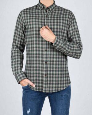 پیراهن پشمی آستین بلند چهارخانه مردانه - زیتونی سیر - رو به رو