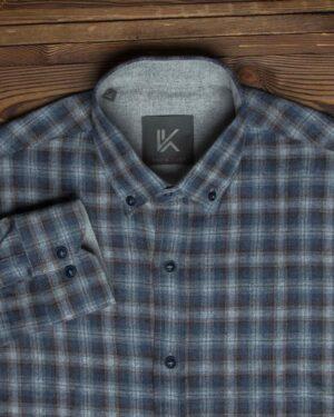 پیراهن پشمی آستین بلند چهارخانه مردانه - طوسی - یقه مردانه