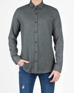 پیراهن پشمی ساده مردانه اسپرت - خاکستری - رو به رو