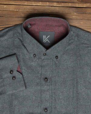 پیراهن پشمی ساده مردانه اسپرت - خاکستری - یقه مردانه