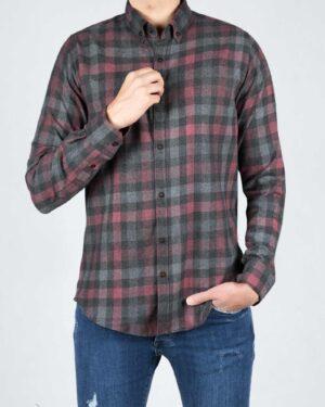پیراهن پشمی چهارخانه اسپرت مردانه - سرخابی - رو به رو