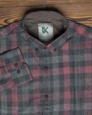 پیراهن پشمی چهارخانه اسپرت مردانه - سرخابی - یقه مردانه