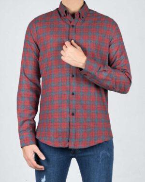پیراهن پشمی چهارخانه قرمز مردانه - قرمز روشن - رو به رو