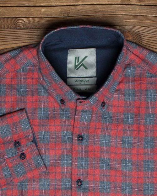 پیراهن پشمی چهارخانه قرمز مردانه - قرمز روشن - یقه