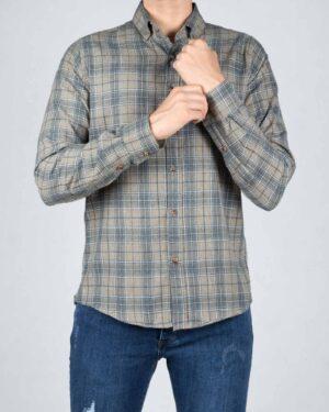 پیراهن پشمی چهارخانه مردانه کرمی - کرمی - رو به رو