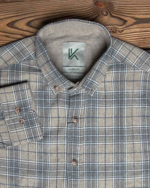 پیراهن پشمی چهارخانه مردانه کرمی - یقه مردانه
