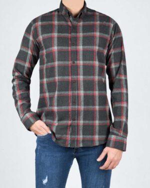 پیراهن پشمی چهارخانه مشکی مردانه - مشکی - رو به رو