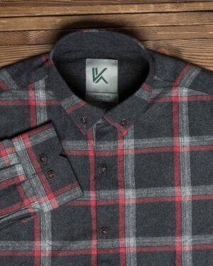 پیراهن پشمی چهارخانه مشکی مردانه - مشکی - یقه مردانه