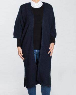 ژاکت بافت بلند ساده زنانه - سرمه ای تیره - استایل رو به رو
