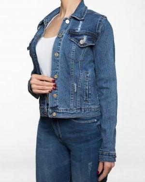 کت جین کوتاه زاپ دار زنانه - آبی - بغل