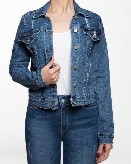 کت جین کوتاه زاپ دار زنانه - آبی - رو به رو