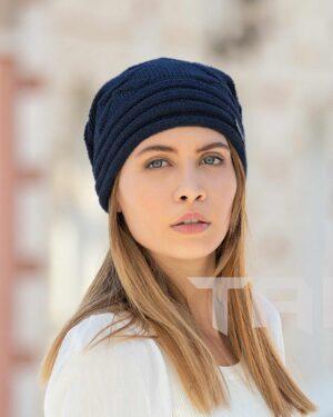کلاه بافت طرح پروانه - سرمه ای تیره - زنانه