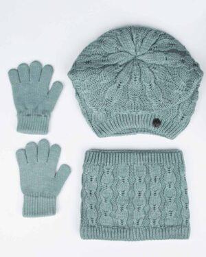 کلاه و شال رینگی و دستکش بافتنی بچه گانه - سبزآبی روشن - رو به رو