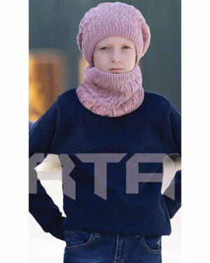کلاه و شال رینگی و دستکش بافتنی بچه گانه - صورتی - دخترانه تارتن