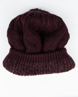 کلاه و شال رینگی و دستکش بافتنی بچه گانه - عنابی - رکلاه تو کرک