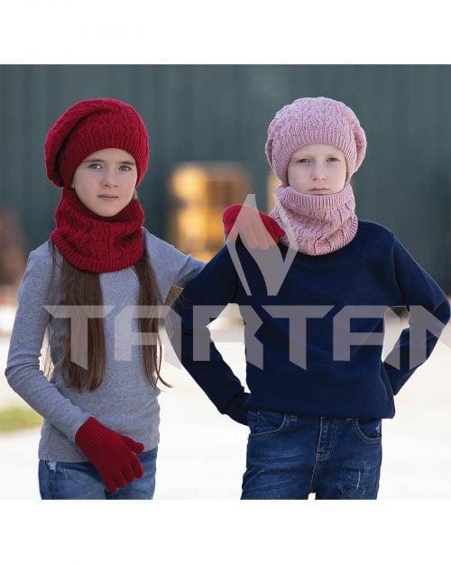 کلاه و شال رینگی و دستکش بافتنی بچه گانه - قرمز - دخترانه