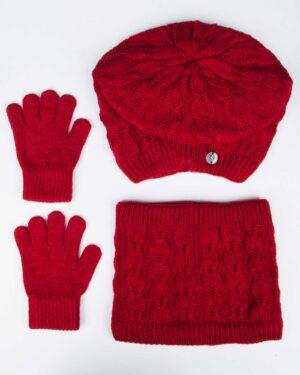 کلاه و شال رینگی و دستکش بافتنی بچه گانه - قرمز - رو به رو