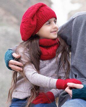 کلاه و شال رینگی و دستکش بافتنی بچه گانه - قرمز - مدل دختر تارتن