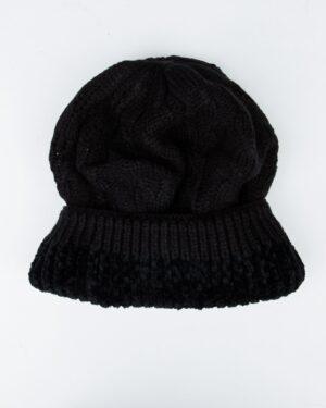 کلاه و شال رینگی و دستکش بافتنی بچه گانه - مشکی - کلاه تو کرک
