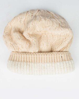 کلاه و شال رینگی و دستکش بافتنی بچه گانه - کرمی - کلاه تو کرک
