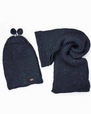 کلاه و شال گردن بافت پولک دار - سرمه ای تیره-شال و کلاه