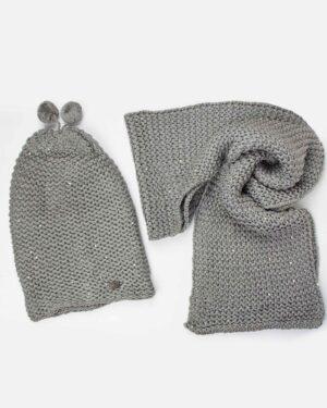 کلاه و شال گردن بافت پولک دار - طوسی- رو به رو