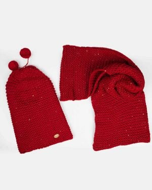 کلاه و شال گردن بافت پولک دار - قرمز - رو به رو