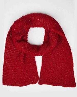 کلاه و شال گردن بافت پولک دار - قرمز - شال گردن
