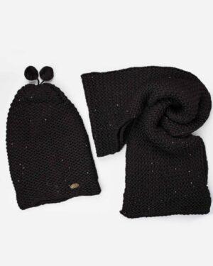 کلاه و شال گردن بافت پولک دار - مشکی - رو به رو