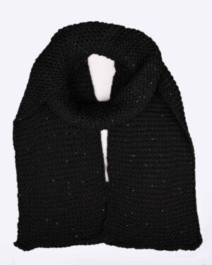 کلاه و شال گردن بافت پولک دار - مشکی - شال گردن