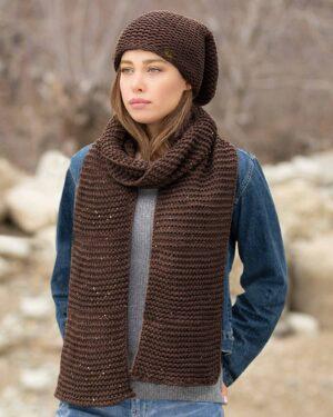 کلاه و شال گردن بافت پولک دار - کالباسی تیره - محیطی زنانه